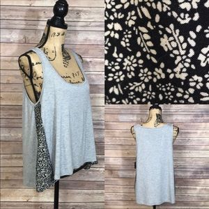 Joe's Jeans Gray Tank Top with Floral Accents L